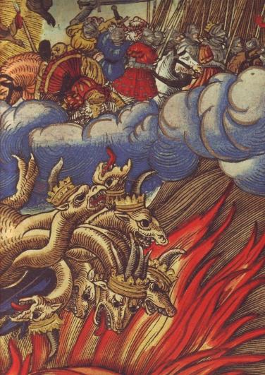 9.La Bestia cade nel fuoco, da un'illustrazione dalla Bibbia di Lutero (1534).