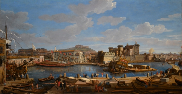 Caspar van Wittel - National Maritime Museum BHC1900. Title: The Darsena delle Galere and Castello Nuovo at Naples. Date: 1703. Materials: oil on panel. Dimensions: 75.5 x 141 cm. Nr.: BHC1900. Source: http://collections.rmg.co.uk/mediaLib/380/media-380929/large.jpg.