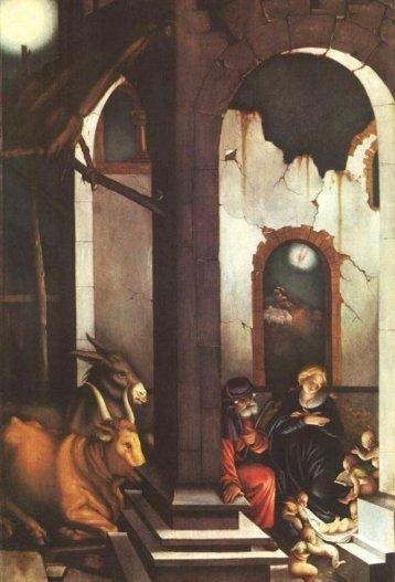 Immagine 4 – Le tre fonti di luce nella notte della Natività: Cristo (la luce divina), l'angelo (la seconda luce) e la stella (la luce sensibile). Hans Baldung Grien, Natività (1520).